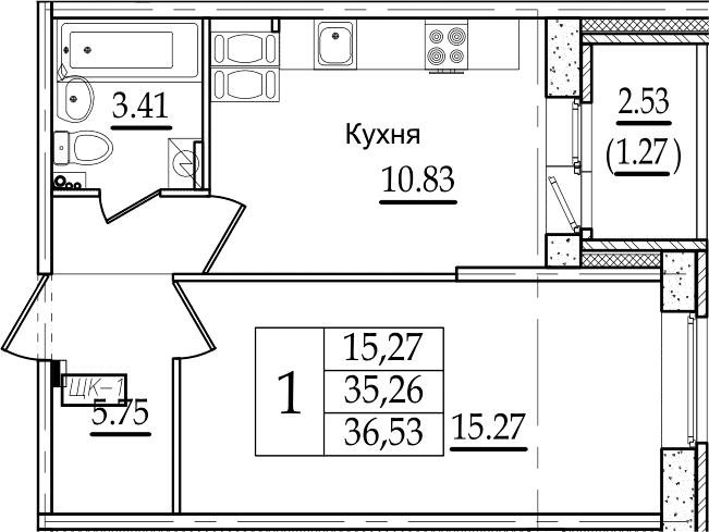 1-комнатная, 36.53 м²– 2