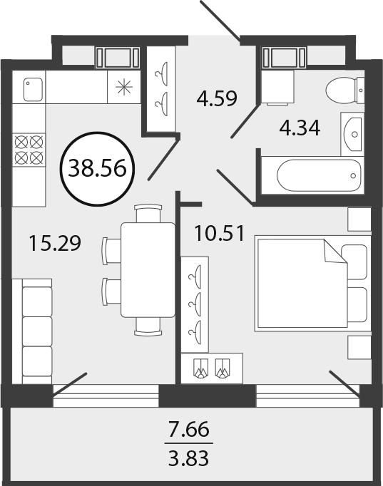 2Е-к.кв, 38.56 м², от 4 этажа