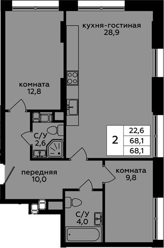 3Е-к.кв, 68.1 м²