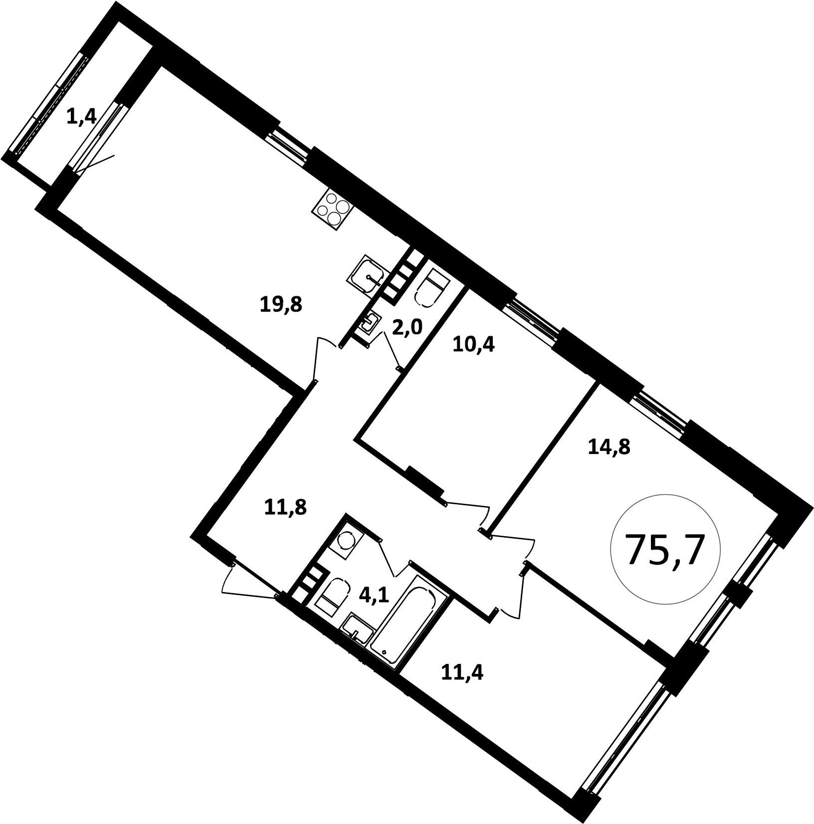 4Е-комнатная, 75.7 м²– 2