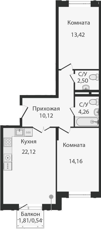 3Е-комнатная, 67.12 м²– 2