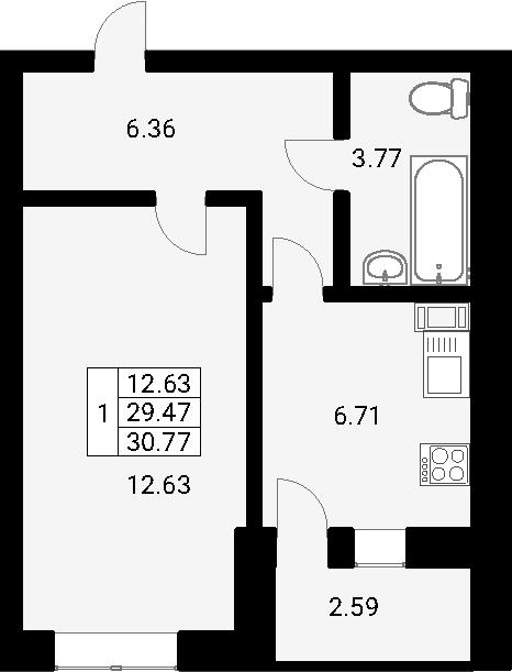 1-к.кв, 32.07 м²