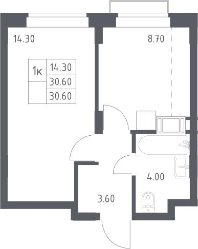1-к.кв, 30.6 м², 8 этаж