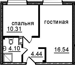 2Е-к.кв, 35.39 м², 5 этаж