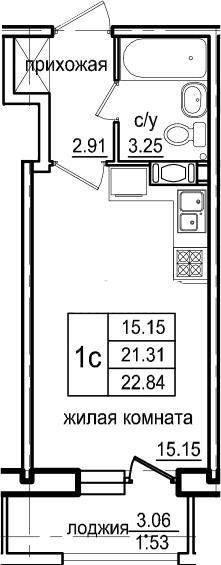 Студия, 22.84 м², 10 этаж