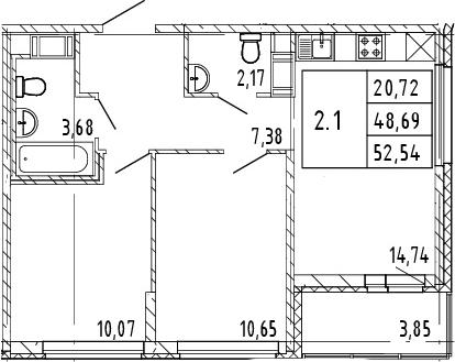 3Е-к.кв, 50.62 м², от 9 этажа