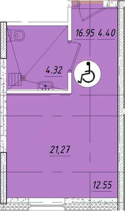 Студия, 21.27 м²