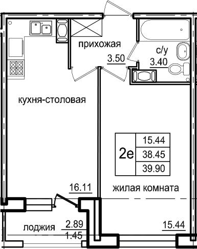 2Е-к.кв, 39.9 м², 4 этаж
