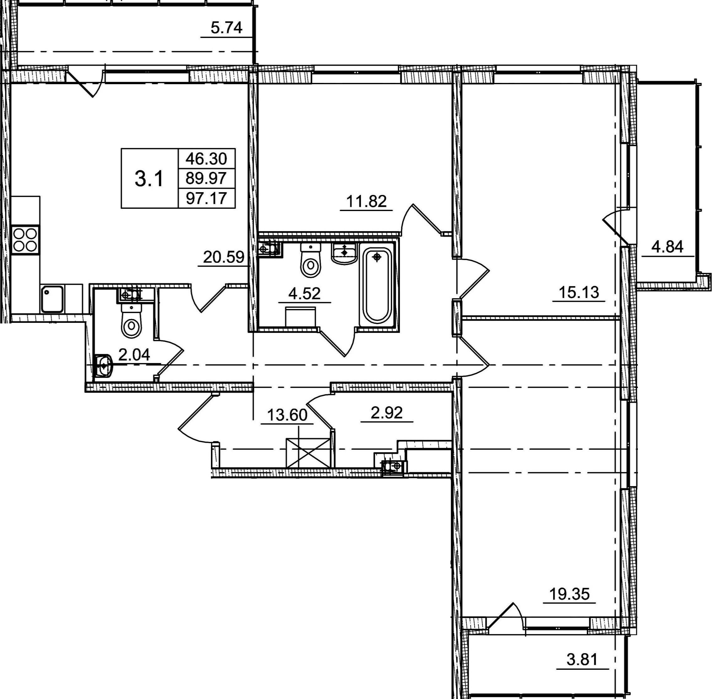 4Е-к.кв, 89.97 м²