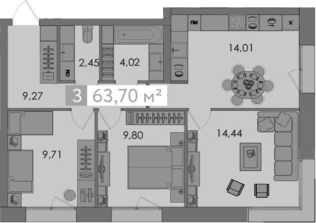 3-к.кв, 63.7 м²