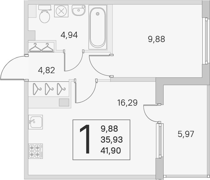 2Е-комнатная, 35.93 м²– 2