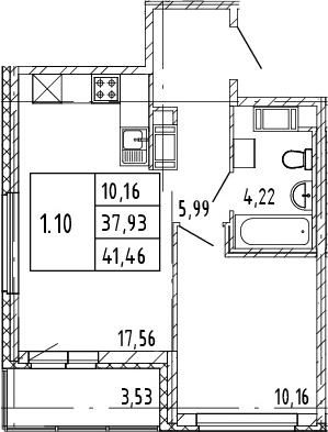 2Е-комнатная, 37.93 м²– 2