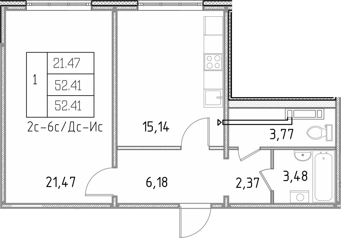 1-к.кв, 52.41 м²