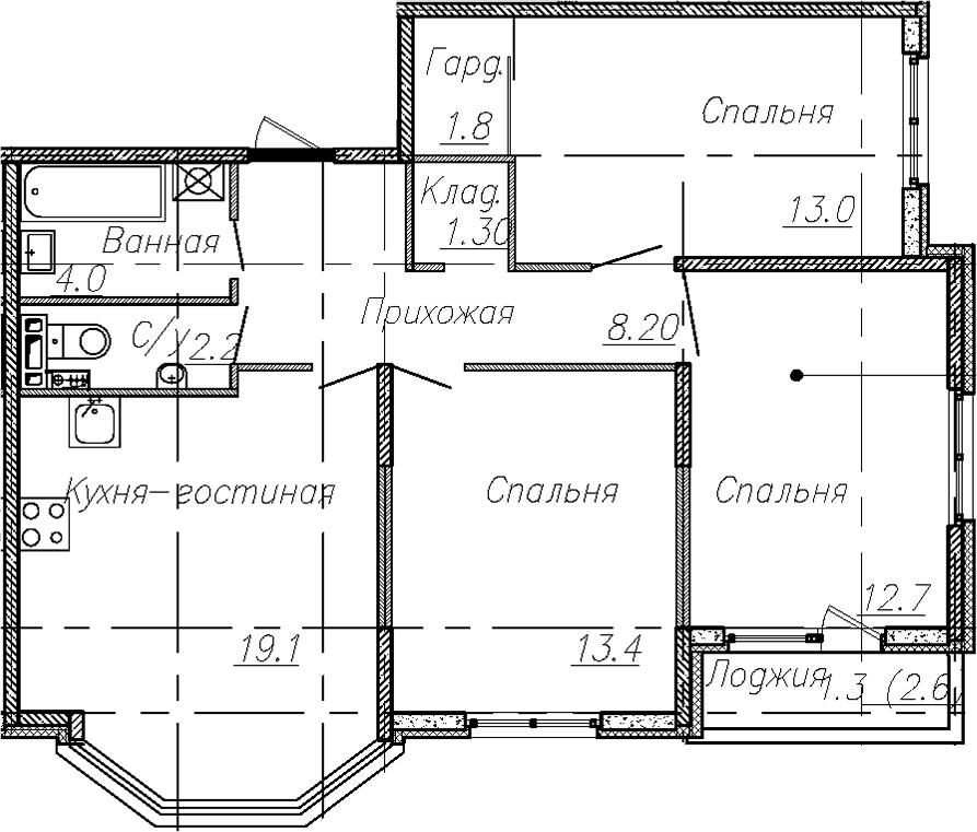 4Е-к.кв, 75.7 м²