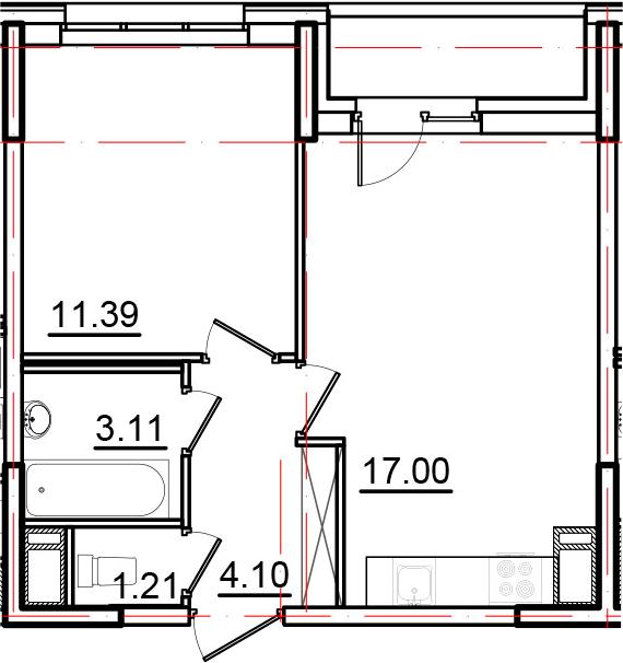 2Е-к.кв, 38.31 м², от 4 этажа