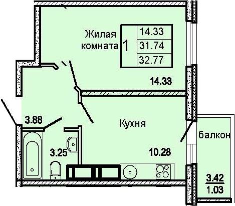 1-к.кв, 32.77 м²