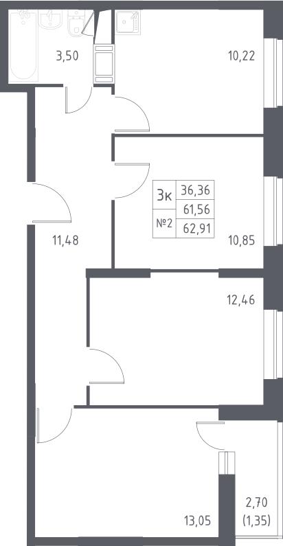 3-к.кв, 62.91 м²