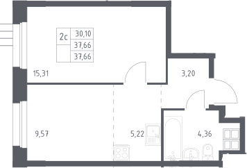 2Е-комнатная, 37.7 м²– 2
