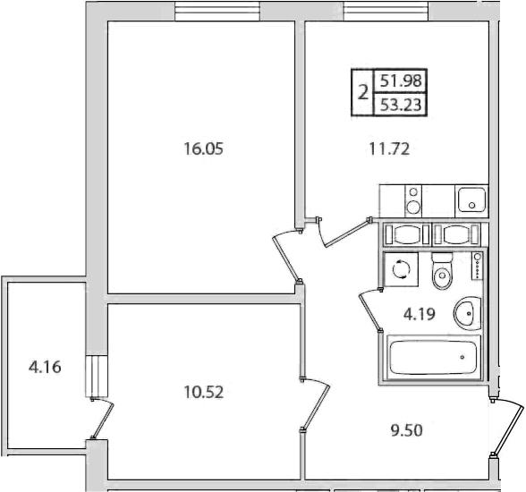 2-к.кв, 53.23 м², от 10 этажа