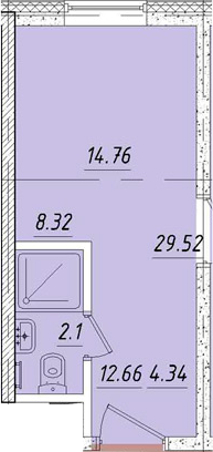 Студия, 14.8 м²– 2