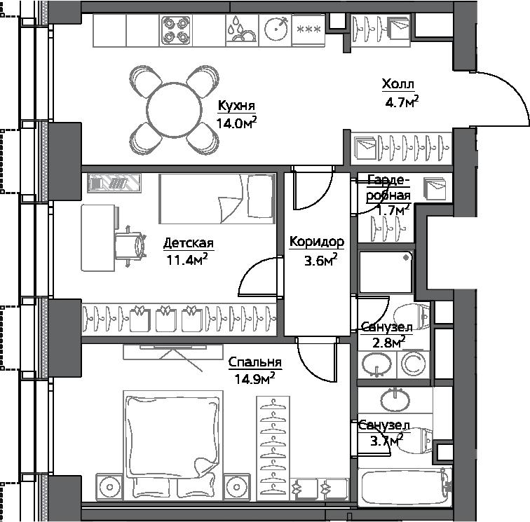 2-к.кв, 56.8 м²