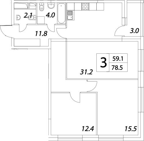 3Е-комнатная квартира, 81.9 м², 23 этаж – Планировка