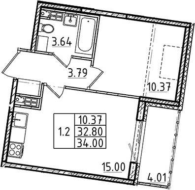 2Е-к.кв, 32.8 м²