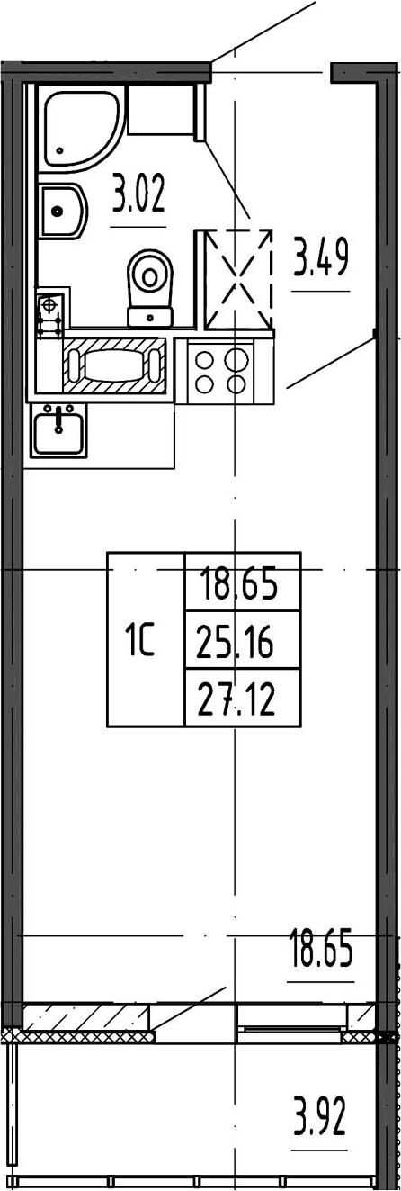 Студия, 25.16 м²