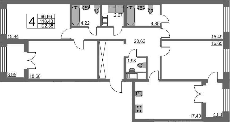4-комнатная, 118.4 м²– 2