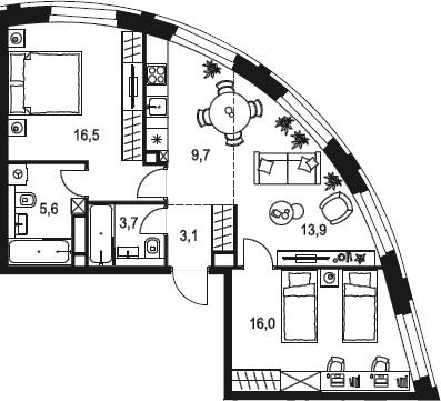 3Е-к.кв, 68.5 м²