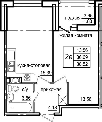2Е-к.кв, 38.52 м², от 5 этажа
