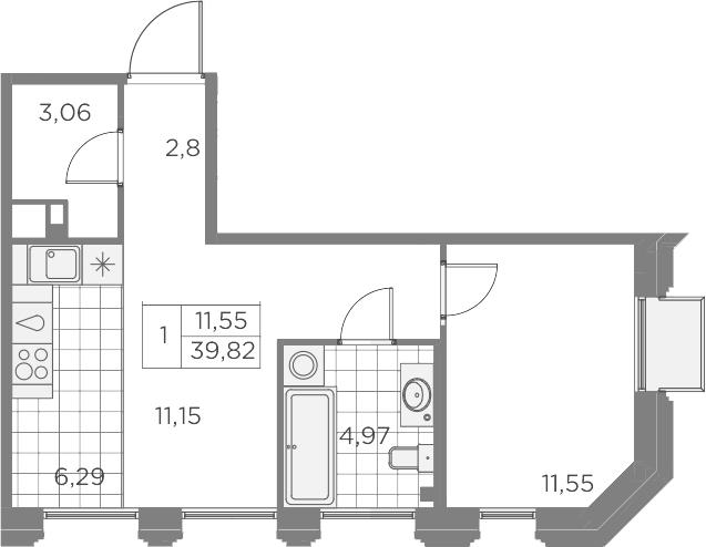 2Е-к.кв, 39.82 м², 4 этаж
