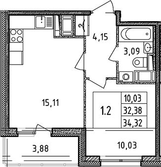 2Е-к.кв, 32.38 м², 12 этаж