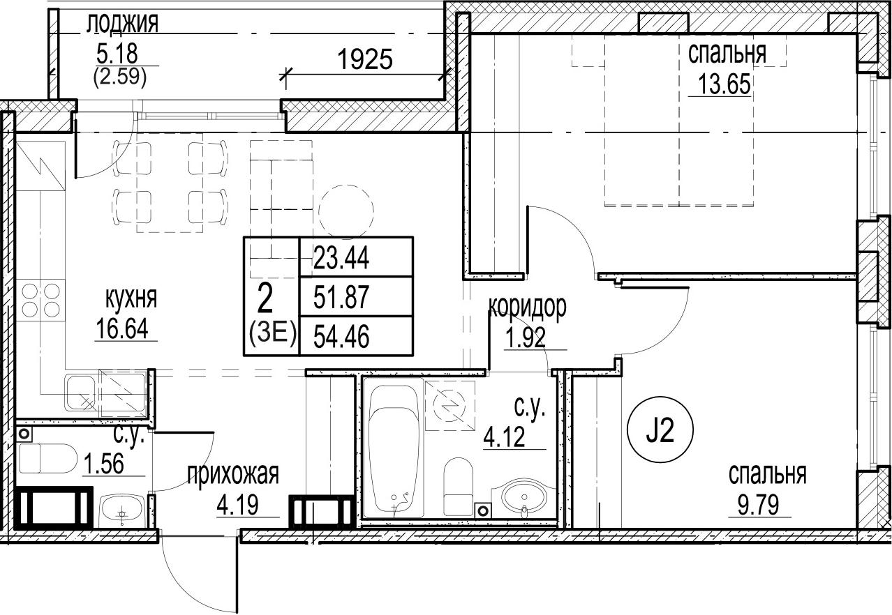 3Е-комнатная, 54.46 м²– 2