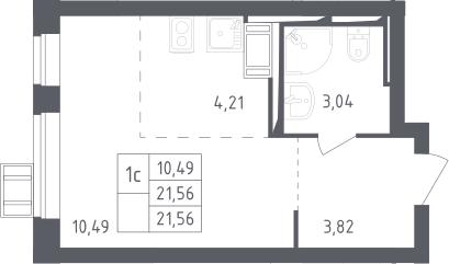 Студия, 21.56 м², от 12 этажа