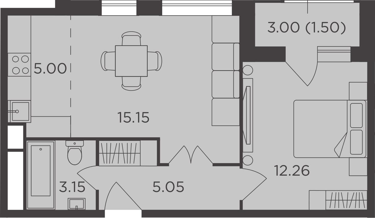 2Е-к.кв, 42.11 м²