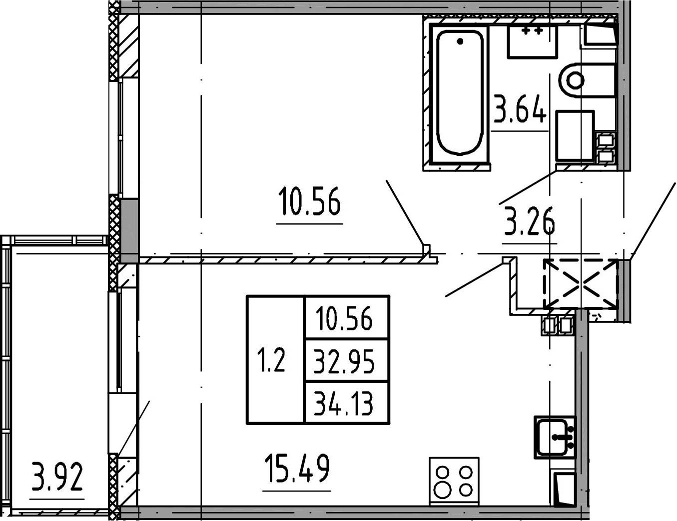 2Е-к.кв, 33.05 м², 4 этаж