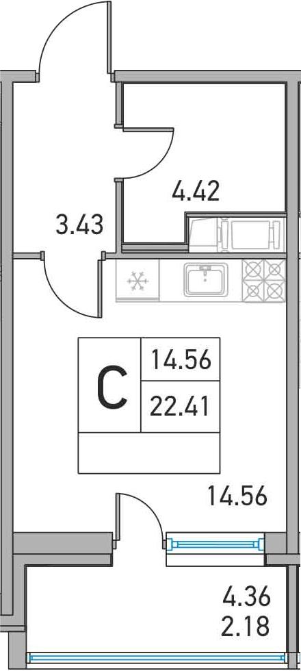Студия, 22.41 м²