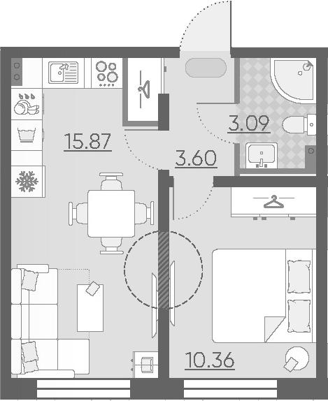 2Е-комнатная, 32.92 м²– 2