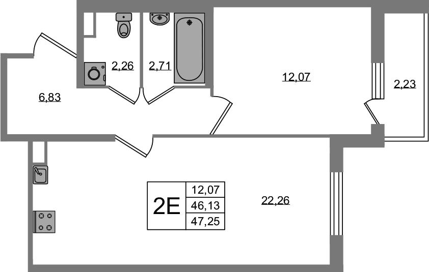 2Е-к.кв, 46.13 м²