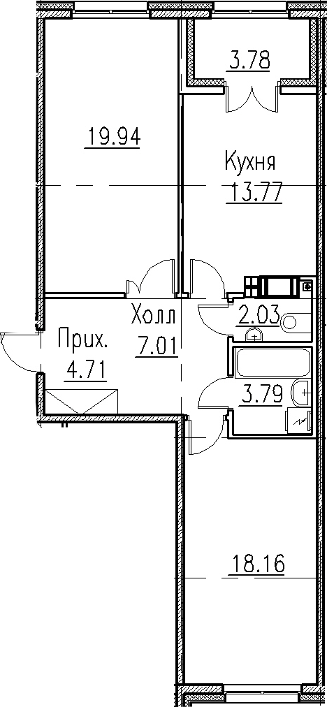 2-к.кв, 69.41 м²