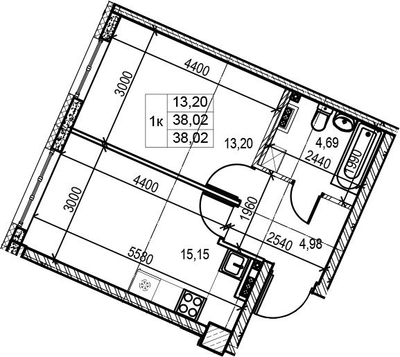 2Е-к.кв, 38.02 м²