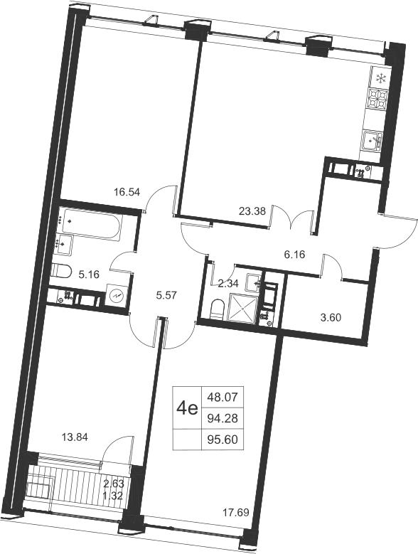 4-к.кв (евро), 96.92 м²