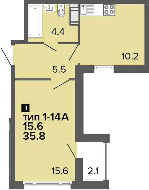 1-к.кв, 35.8 м²