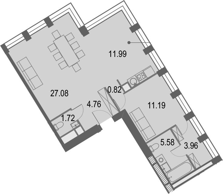 2Е-комнатная, 67.1 м²– 2