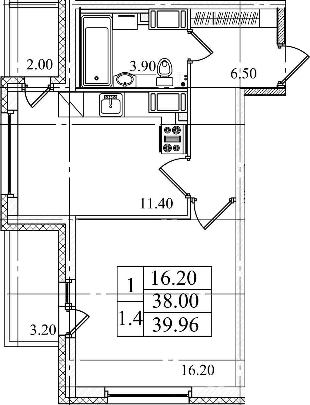 1-комнатная квартира, 38 м², 25 этаж – Планировка