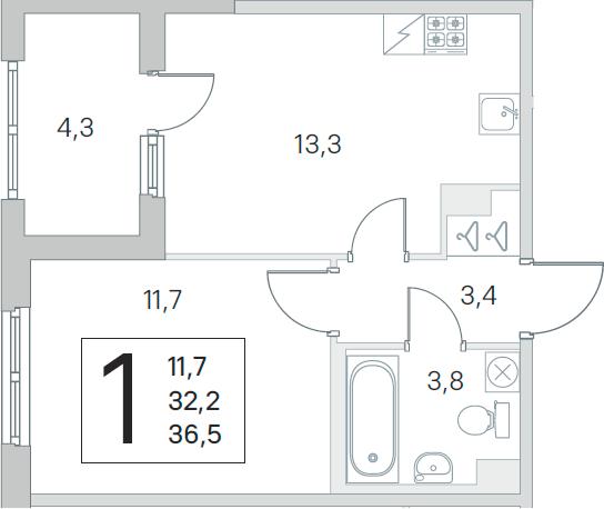 2Е-к.кв, 32.2 м²