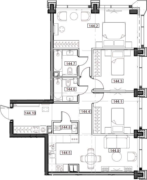 4Е-комнатная, 85.92 м²– 2