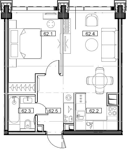 2Е-комнатная, 43.79 м²– 2