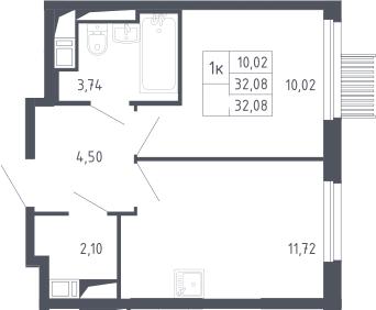 1-к.кв, 32.08 м², 10 этаж